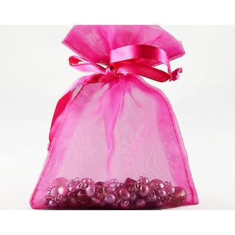 12 Large Fuchsia Pink Organza Favour Gift Bags - 15.5cm x 22.5cm