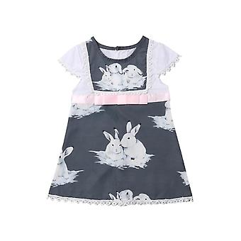 Cute Short Sleeve Baby Girls Dress -Rabbits