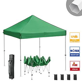 Instahibit 10x10 ft Pop Up Canopy Tent CPAI-84 Commercial Outdoor Trade Fair Canopy Shade Party Tent 1680D Roller Bag