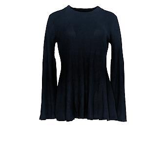 Laurie Felt Women's Cashmere Blend Sweater w/Bell Sleeves Blue A301677