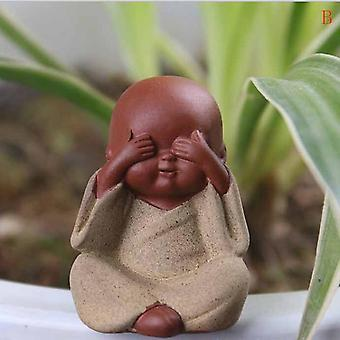 Small Buddha Statue - Monk Figurine Ceramic Crafts Ornament