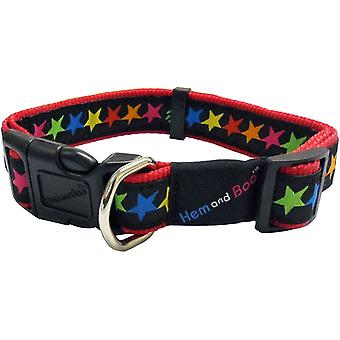 Hem & Boo Nylon Adjustable Collar Stars - 12mm x 25-35cm - Black
