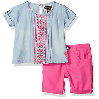 U.S. Polo Assn. Girls' Little Fashion Top Set, Embro Detail on Chest Bermuda ...
