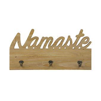 Namaste Wooden Wall Decor with Hooks