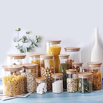 Kitchen Food Storage Glass Jars Sealed Cans With Cover - Spice Jars Candy Tea Kitchen Storage Box