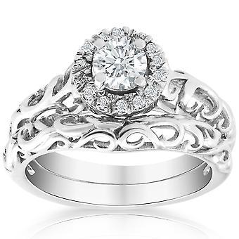סט נישואין טבעת אירוסין יהלום 5/8ct מוסמך פלטינום