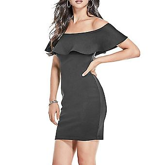 Guess | Ruffled Short Sleeve Off Shoulder Bodycon Formal Mini Dress