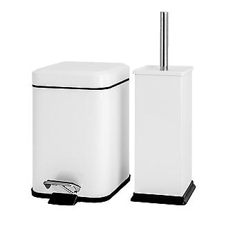 Square Steel Bathroom Pedal Bin (3 Litres) & Toilet Brush Set - White
