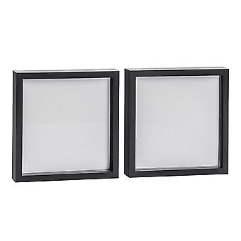 Nicola Spring Photo Frame - Acrylic Box Frame (Glass Cover) - 10x10in - Black - Pack of 2