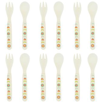 Tiny Dining Children's Bamboo Fibre Dining Fork & Spoon Cutlery Set - Flower - Pack of 6