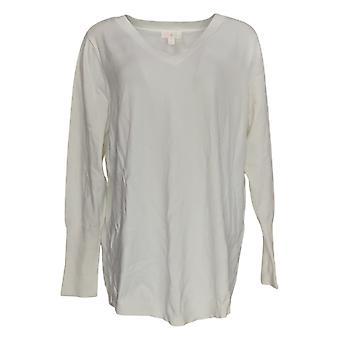 Belle by Kim Gravel Women's Sweater Feather Knit W/Smile Hem White A376085