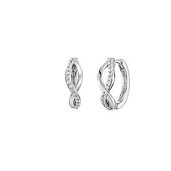 Angel Whisperer Paradise Sterling Silver Zirconia Rhodium Plated 16.5mm Hoop Earrings  ERE-PARADISE-ZI-CR