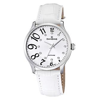Candino Swiss C4481-1 Women's White Leather Strap Wristwatch