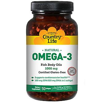 Country Life Omega 3 Fish Body Oliën, 1000 MG, 50 Sftgls