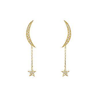 Серьги Latelita Луна звезды стад моды 925 стерлингового серебра золотых звезд CZ падение