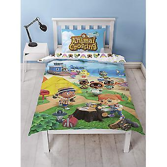 Cubierta de edredón único de cruce de animales y juego de fundas de almohada