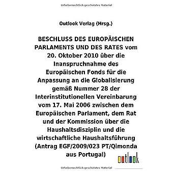 BESCHLUSS vom 20. Oktober 2010 Aber die Inanspruchnahme des Europ ischen Fonds fAr die Anpassung an die Globalisierung helmi A Nummer 28 der Interinstitutionellen Vereinbarung vom 17. Mai 2006 Aber die Haushaltsdisziplin und die wirtschaftliche Haushalt