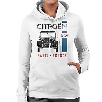 Citroen Musta 2CV Pariisi Ranska Single Stripe Naisten huppari