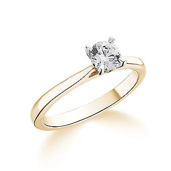 9K Yellow Gold Tapered Shoulder 4 Claw Setting 0.35Ct Certified Solitaire Diamond Engagement Ring