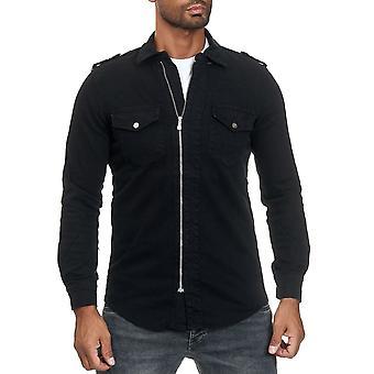 Chemise pour homme avec fermeture éclair en Jeans Look Long Sleeve Veste transition Veste Casual