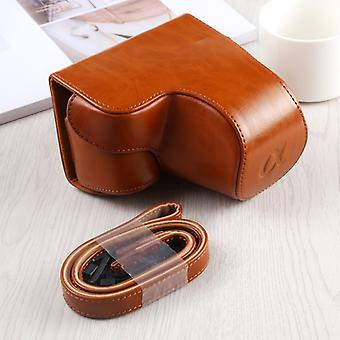 Full Body Camera PU Leather Case Bag with Strap for Sony A6400 / ILCE-A6400 (Brown)
