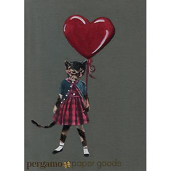 Kitty With Heart Balloon Card