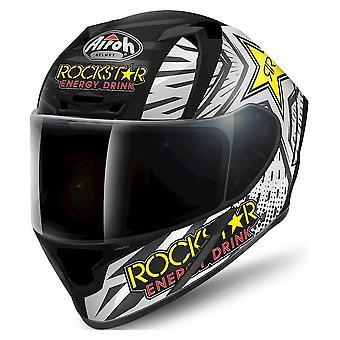 Airoh Valor Rockstar Full Face Motorradhelm Schwarz Weiß ACU Genehmigt