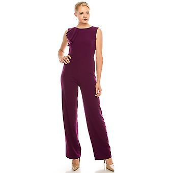 Sleeveless Jumpsuit With A Chic Pleated Ruffle Detail
