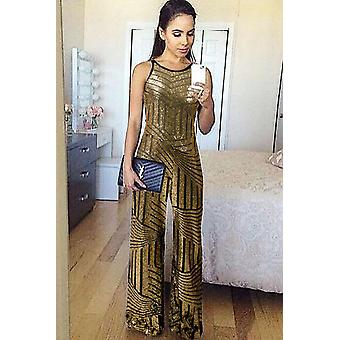 Combinaison geometric stripe sleeveless wide leg sequin