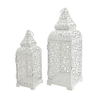 Rebecca Furniture 2 Candle Holder Lanterns Metal White Room 39x14.5x14.5