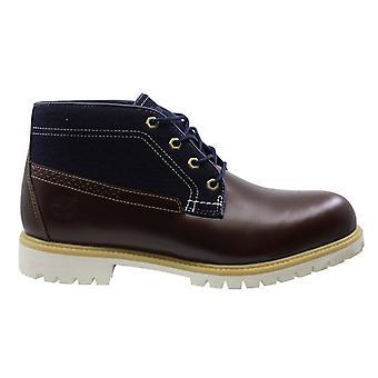Timberland braun blau Leder Textil Schnürung Herren Chukka Stiefel A119W