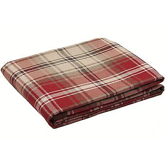 Mcalister textiles angus tartan check red + white throw