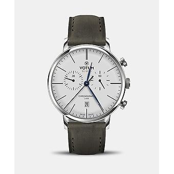 VOTUM - Reloj Unisex - VINTAGE CHRONOGRAPH - VINTAGE - V10.10.10.05 - correa de cuero - gris-marrón