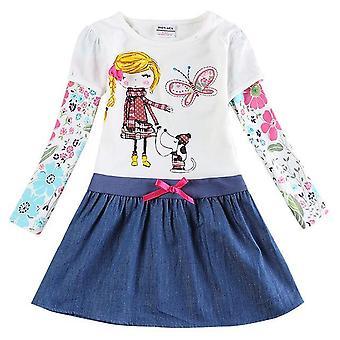 שמלת בנות ארוכות שרוול, ילדה וכלב, תינוק