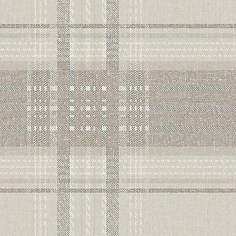 Rhea Plaid Taupe Wallpaper