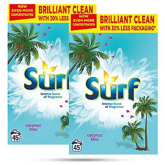 2x von 45Washes Surf Concentrated Coconut Bliss Wäschepulver 2.25kg, Gesamt 90W