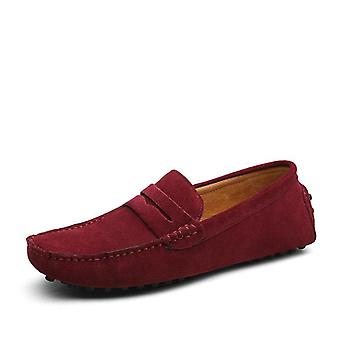 Loafers Soft Moccasins, Genuine Leather Shoes Men Warm Flats Driving Shoes
