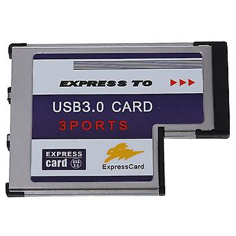 3 Port Usb 3.0 Carte Express 54mm Pcmcia Express Card For Laptop New