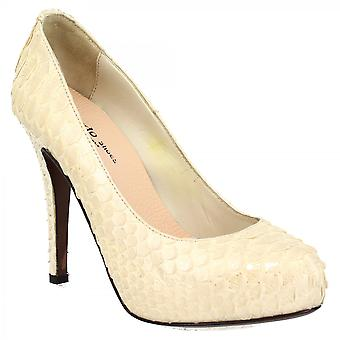 Leonardo Shoes Women's handmade heeled pumps shoes in white python leather