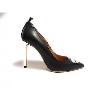 Zapatos de mujer Decollete Moschino Tc 90 Corazón de cuero negro Laminado Plata D18mo11