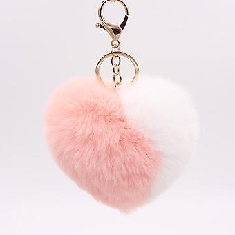 kjærlighet hjerte pompom ball, plysj leketøy med nøkkelring vesken, bag, sjarm, anheng,