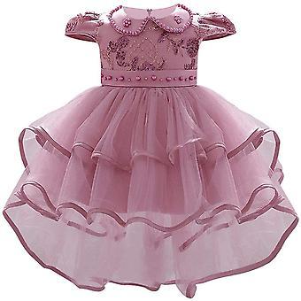 Baby Girl formálne krst princezná šaty 1130-fazuľa ružová
