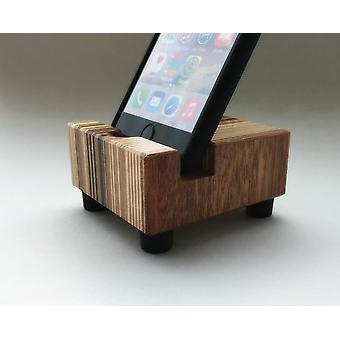 Iphone Stand, Modern Minimalist Striped Wood