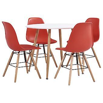 5 Piece Dining Set Plastic Red
