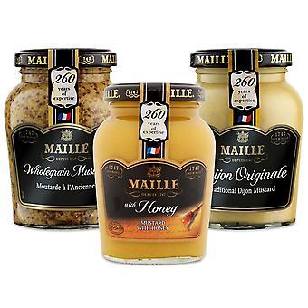 Maille Mustard Jar Original(215g), Wholegrain(210g)& Miere(230g) 1 din fiecare