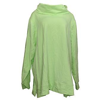 Denim & Co. Women's Plus Top Active Cowl Neck Long-Sleeve Green A389814
