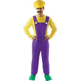 Orion kostuums mens slechte loodgieter Wario Retro 80s video game fancy dress kostuum