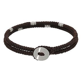 Bracciale a doppia corda da uomo, perline e pulsante d'argento