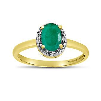 LXR 10k Gul Guld Oval Smaragd och Diamantring 0.56 ct