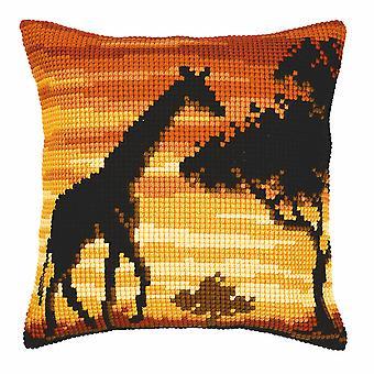 Vervaco Cross Stitch Kit: Cuscino: Giraffa al tramonto